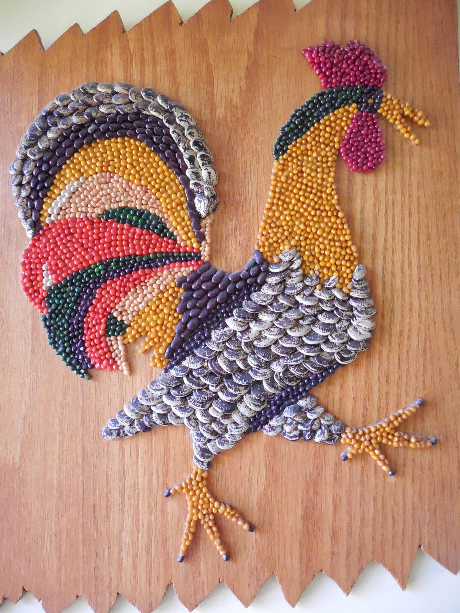 Vintage Folk Art Rooster Wall Hanging Made From Seeds