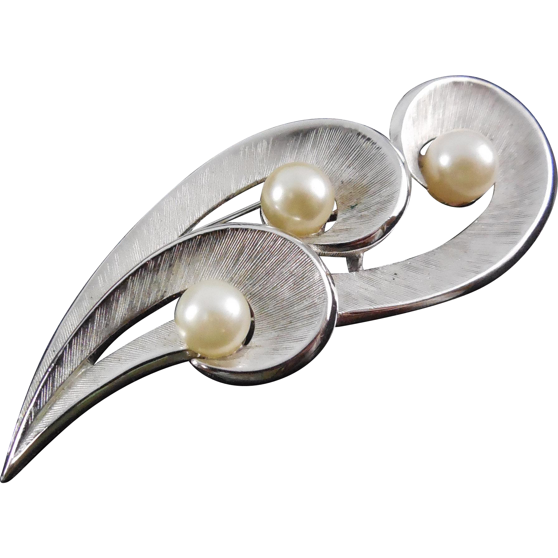 Signed Crown Trifari Brushed Silver Faux Pearl Brooch