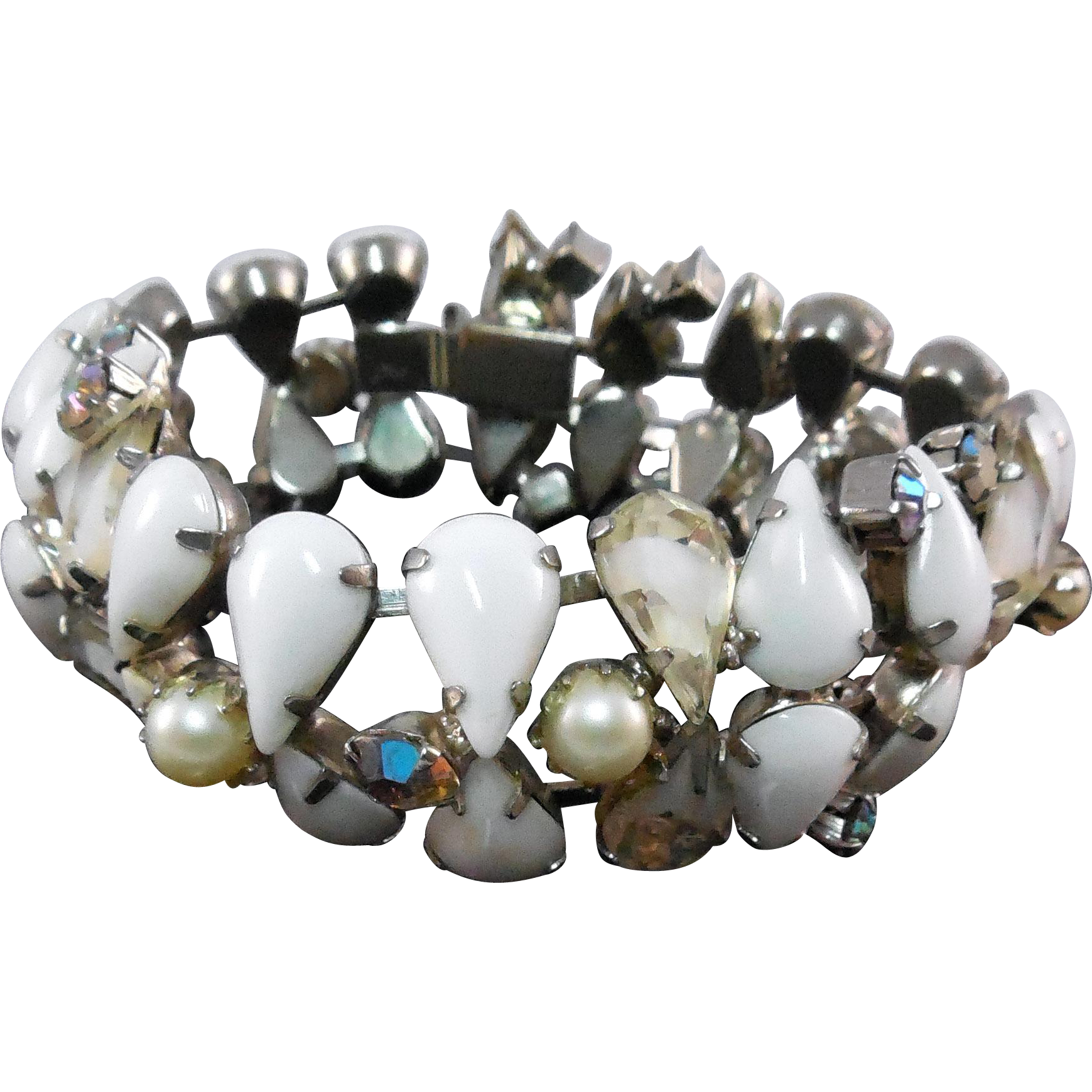 Flashy Vintage Bracelet - Milk Glass, Clear & White, AB Stones, & Faux Pearls