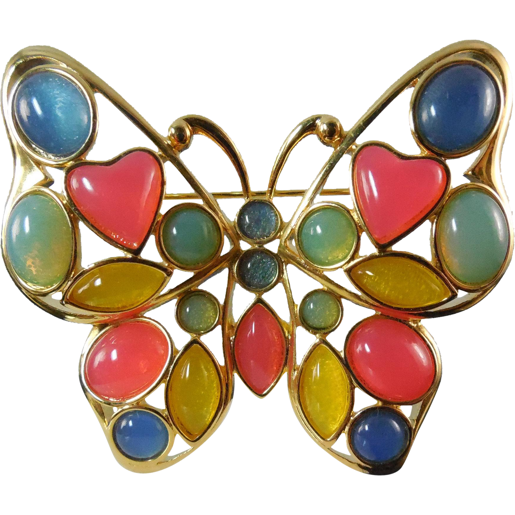 Signed Trifari TM Mosaic Lucite Butterfly Brooch - Circa 1980s