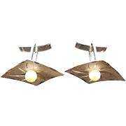 Vintage Sterling Silver & Pearl Cufflinks - Diamond Shape With Etched Ray Design - Wedding or Prom Jewelry
