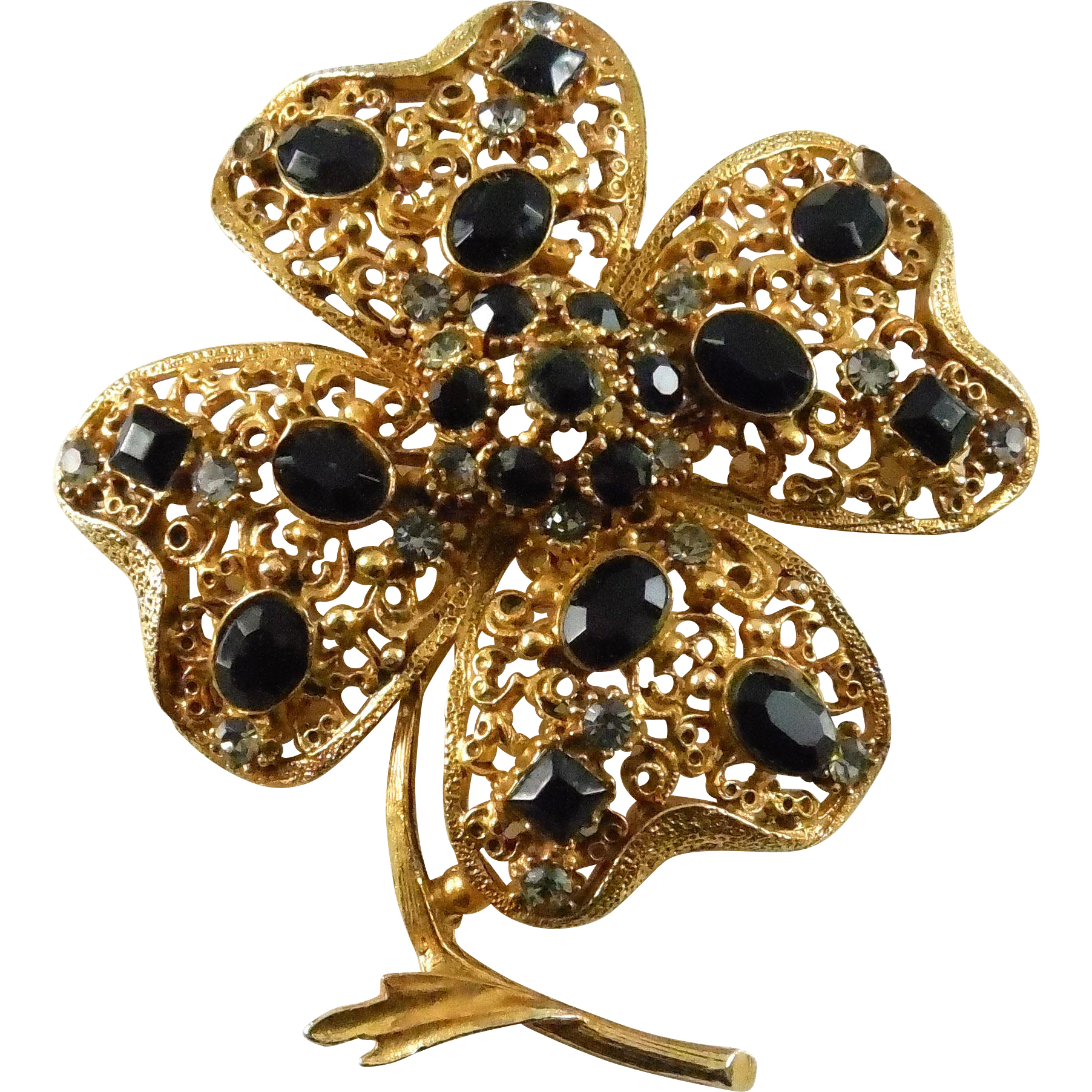 Vintage Florenza Large Flower or Shamrock Brooch with Clear & Black Stones