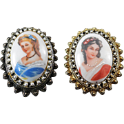 Limoges France Portrait Brooch Pendants - Set Of Two Brooches Red & Blue