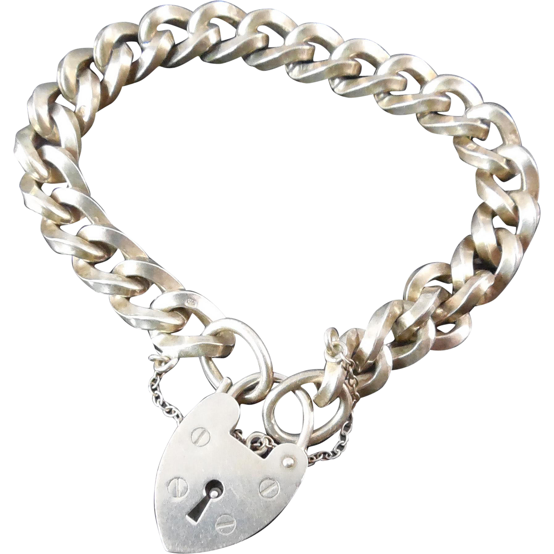 Sterling Silver Bracelet With Padlock and Safety Chain - London England Signed LC