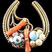 Vintage Coro 1949 Horseshoe Brooch - Coral, Blue Glass Beads, Rhinestone & Faux Pearl