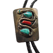 Vintage Zuni Old Pawn Bolo Tie Signed JC With Snake Turquoise Coral Bolo Marked Bennett Pat Pend C31