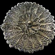 Vintage Hallmarked Cannetille Wirework Filigree Brooch - Flower Shape