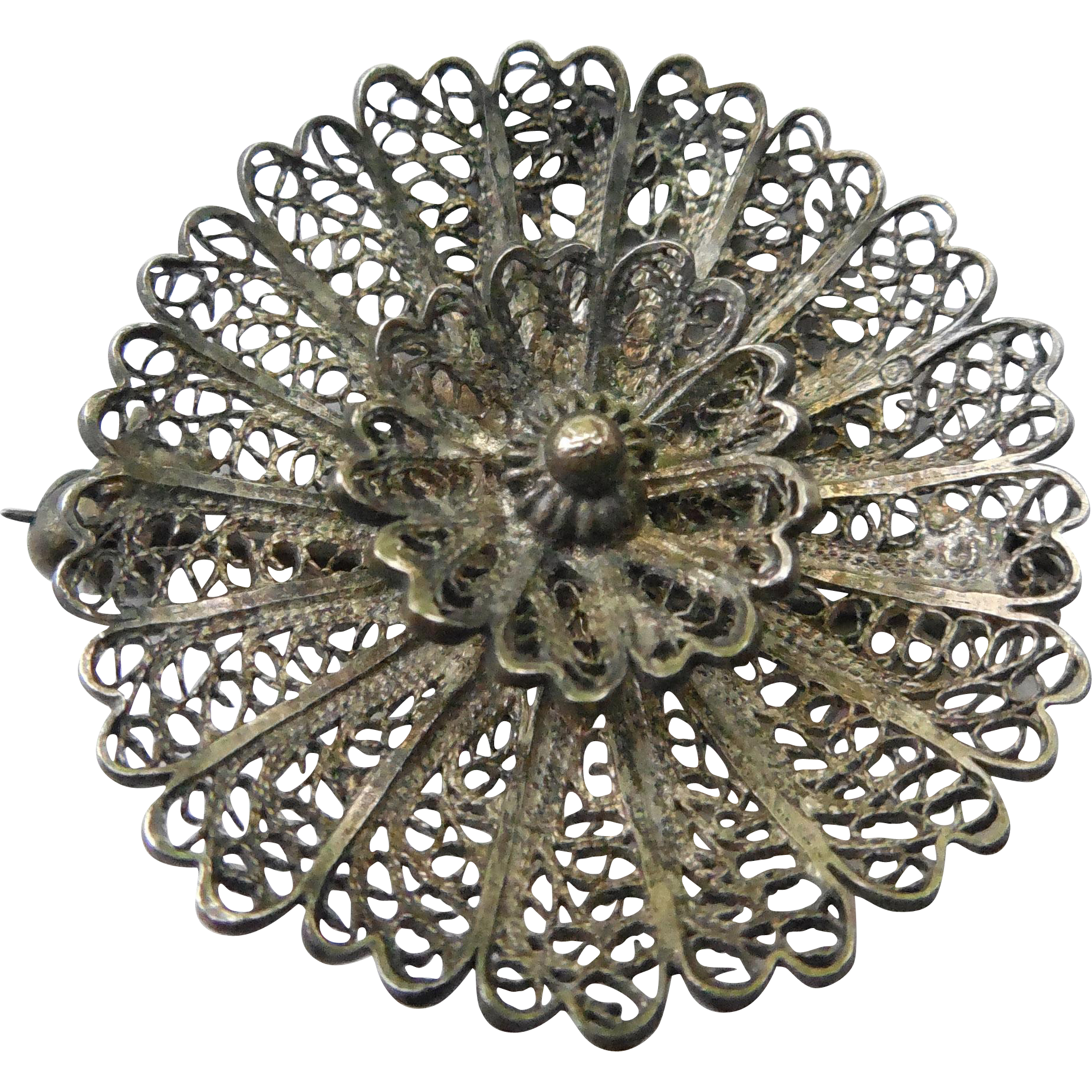 Vintage Hallmarked Cannetille Wirework Filigree Brooch - Flower Shape