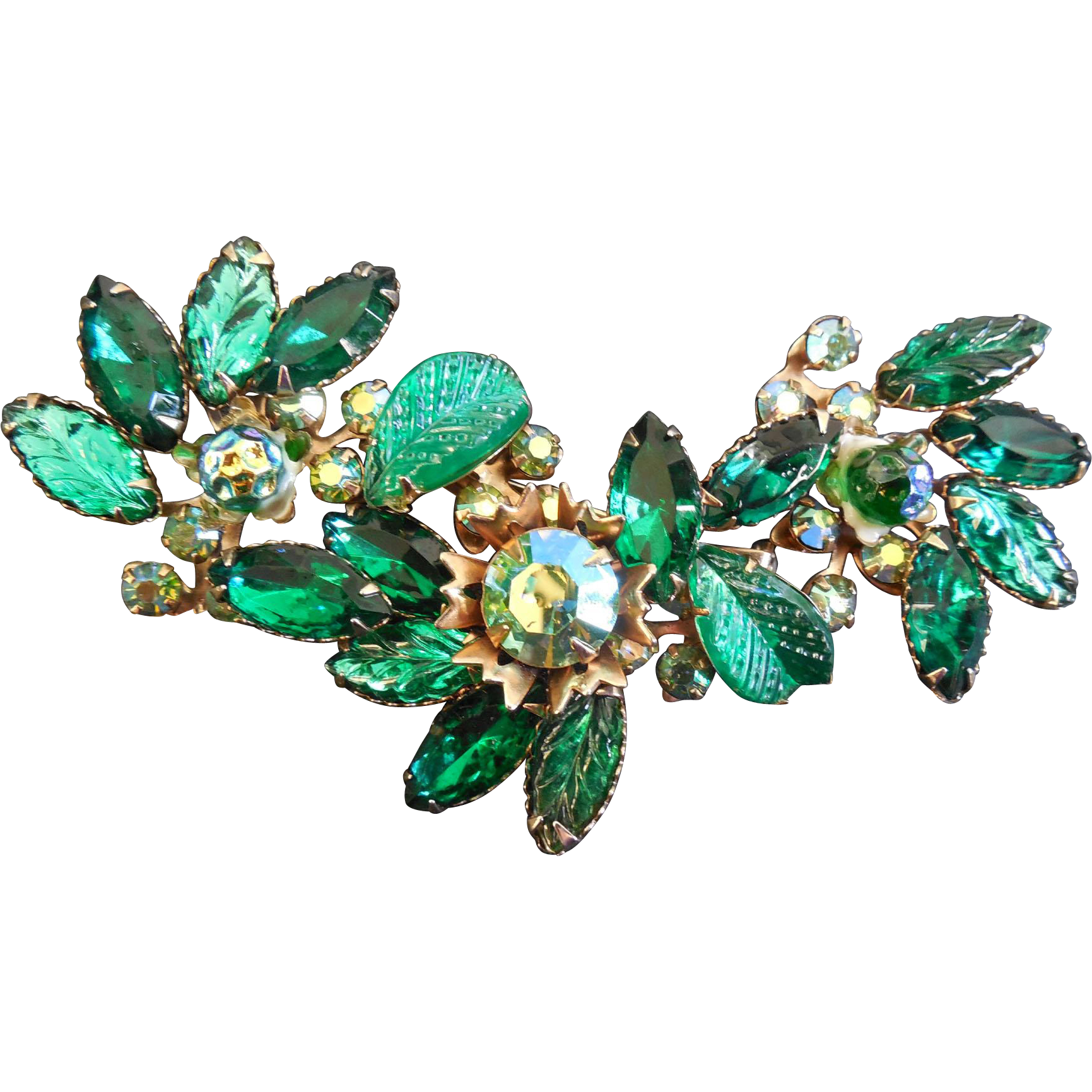 Lovely Vintage Brooch - Molded Green Leaves & Berries With AB Crystals