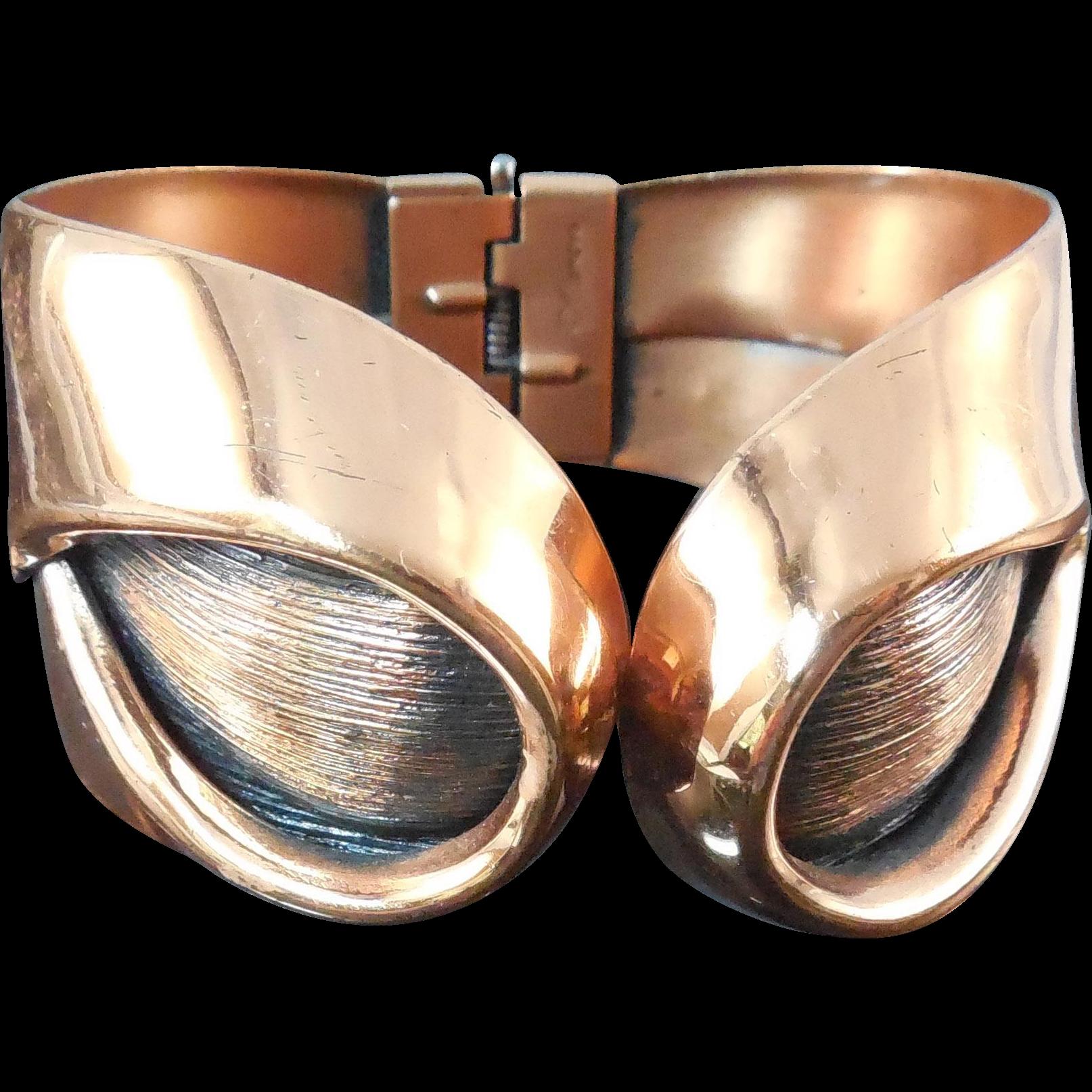 Mid Century Modern Copper Bracelet - Sari, Signed Renoir
