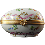Signed Atelier Le Tallec Hinged Box French - Egg Shape With Multi Color Flowers