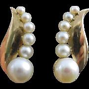 Beautiful Vintage 14K Gold & Pearl Earrings - Late Art Deco
