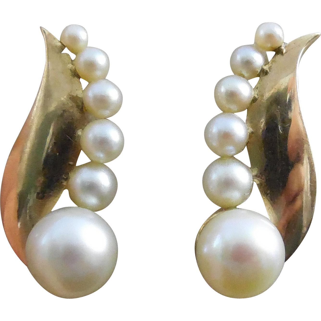 Beautiful Vintage 14K Gold & Pearl Earrings - Late Art Deco