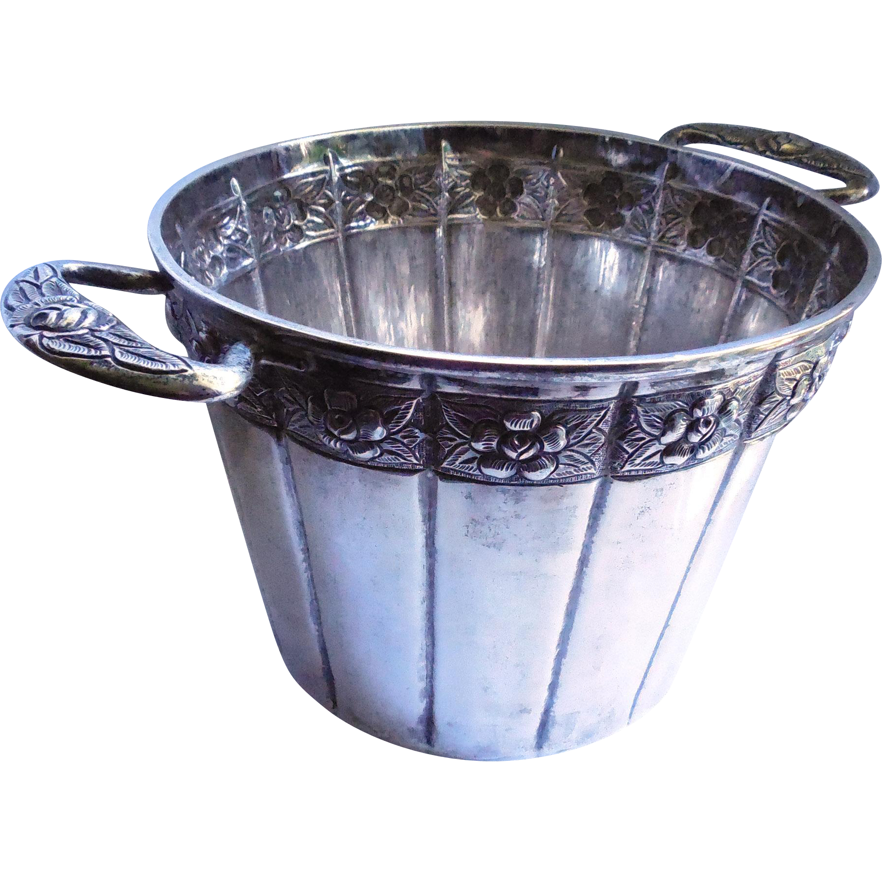 Queen Anne Vintage Sterling Silver Ice Bucket / Champagne Chiller - Pre Eagle Mexico - Signed Vigueras