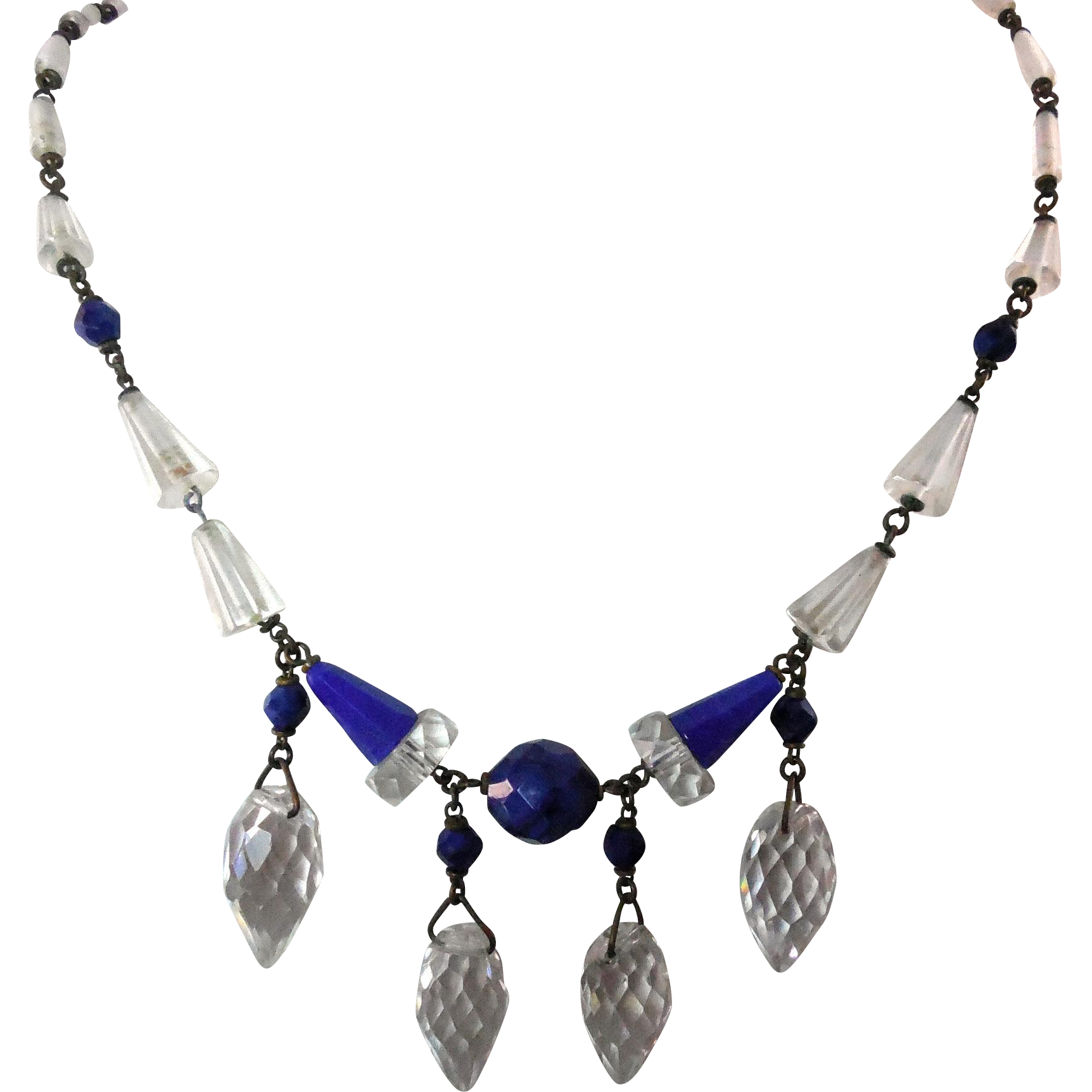Vintage Czechoslovakia Necklace Cobalt Blue and Clear Beads with Faceted Glass and 4 Drops