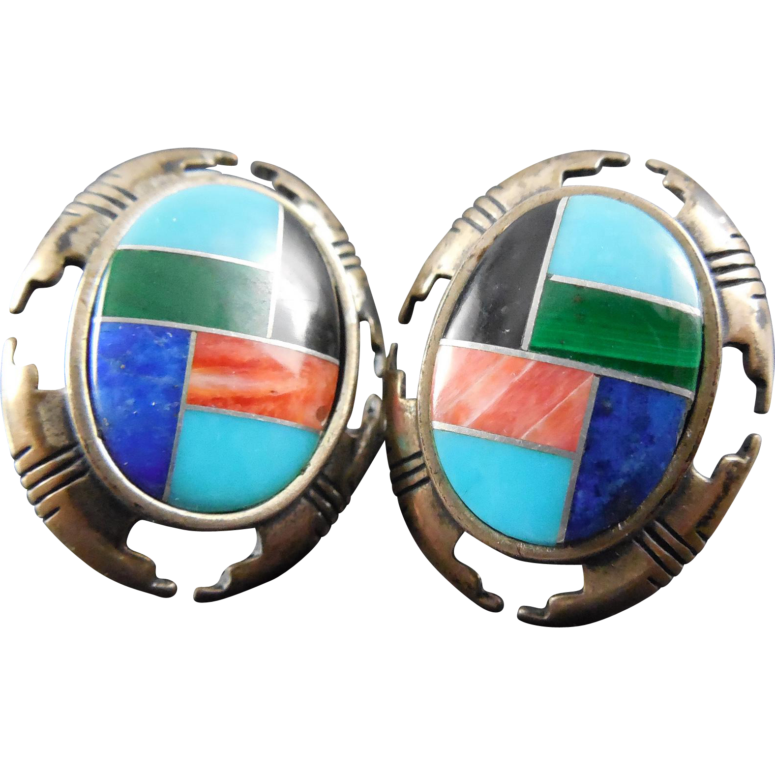 Carolyn Pollack Relios Sterling Silver Earrings With Inlaid Coral Onyx Malachite Turquoise Sodalite