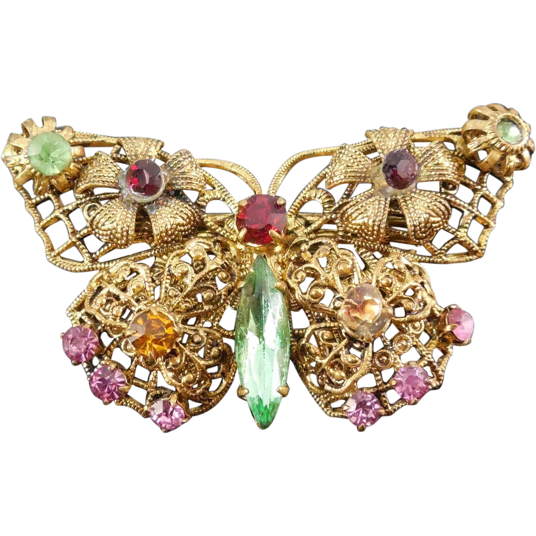 Gorgeous Vintage Butterfly Brooch with Multi Colored Rhinestones