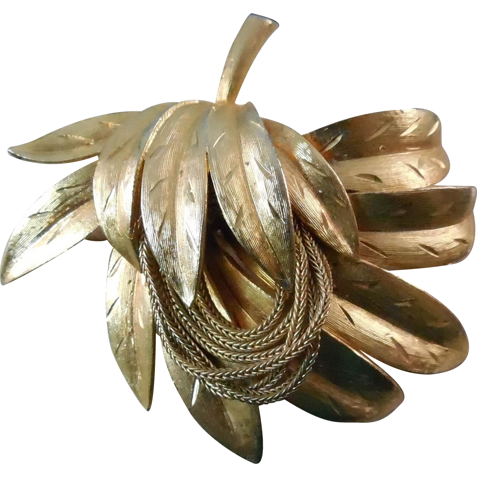 Vintage Kramer Brooch - Lovely Textured Botanical Brooch Enhanced With Chains