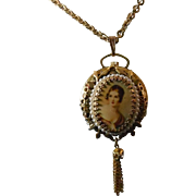 Fancy Pendant Watch Signed Norman Deluxe - Victorian Woman - Moving Bezel
