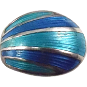 Norway David Andersen Sterling Enamel Spoon Ring - Size 4 - Blue & Teal Enamel