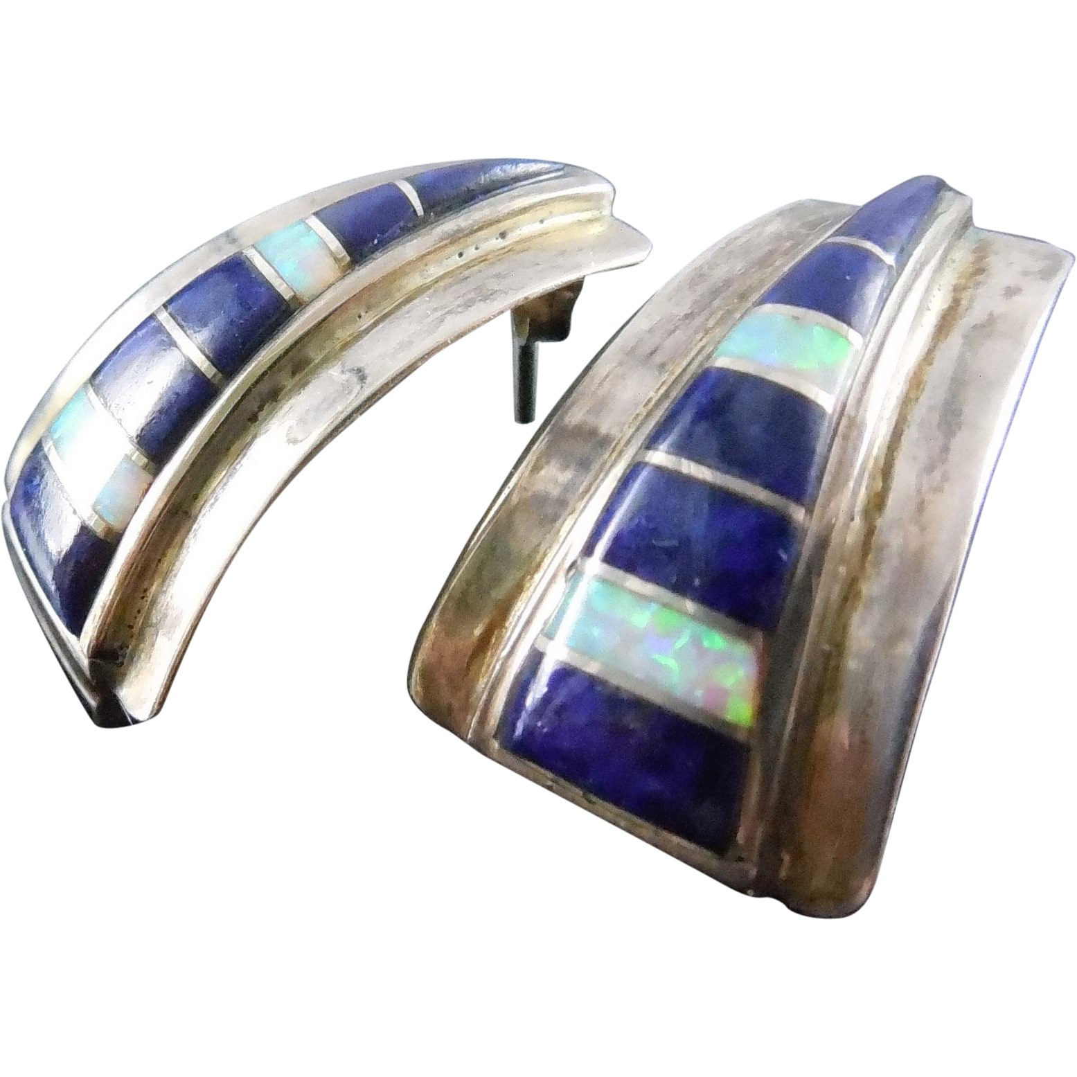 Lovely Native American Sterling Lapiz and Opal Earrings - Signed With Rising Sun Mark