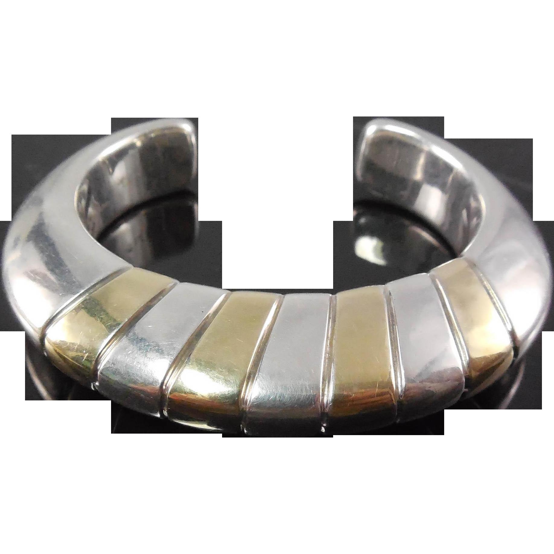 Designer Signed Brian Bergner Electroform Sterling Silver Bracelet - Two Tone Cuff Bracelet In Silver & Gold