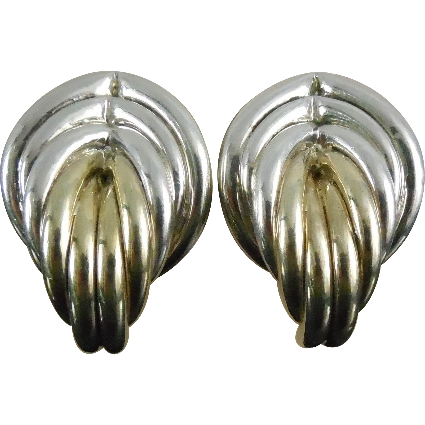 Designer Signed Brian Bergner Big Electroform Sterling Silver Earrings - Two Tone In Silver & Gold