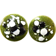 Mid Century Modern Sterling Enamel Cuff Links Cufflinks Black Green White Enamel