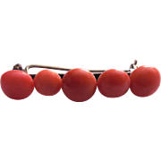 Antique Coral Brooch - Bar Type Brooch