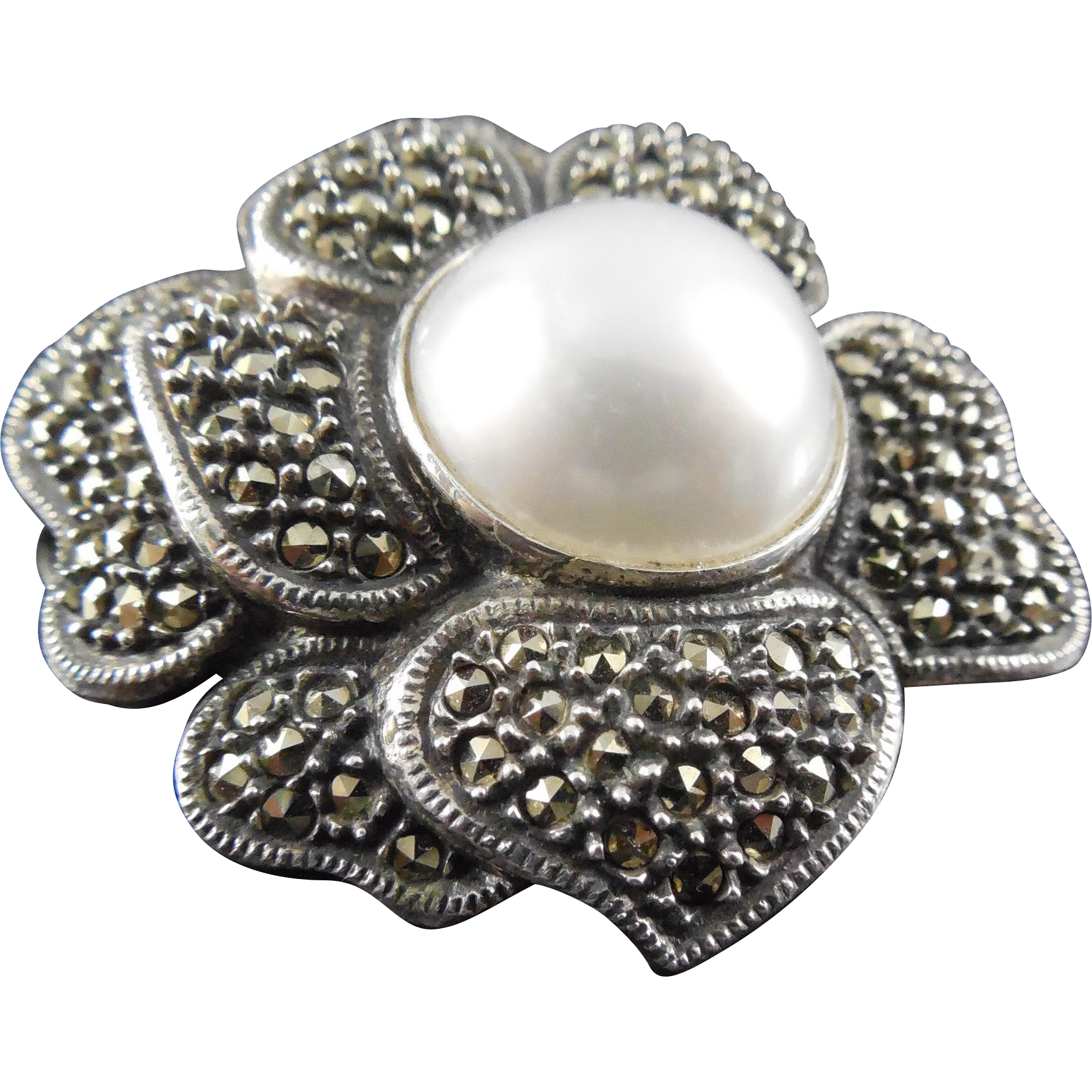 Signed Judith Jack Marcasite Flower Brooch Sterling Silver Faux Pearl Center