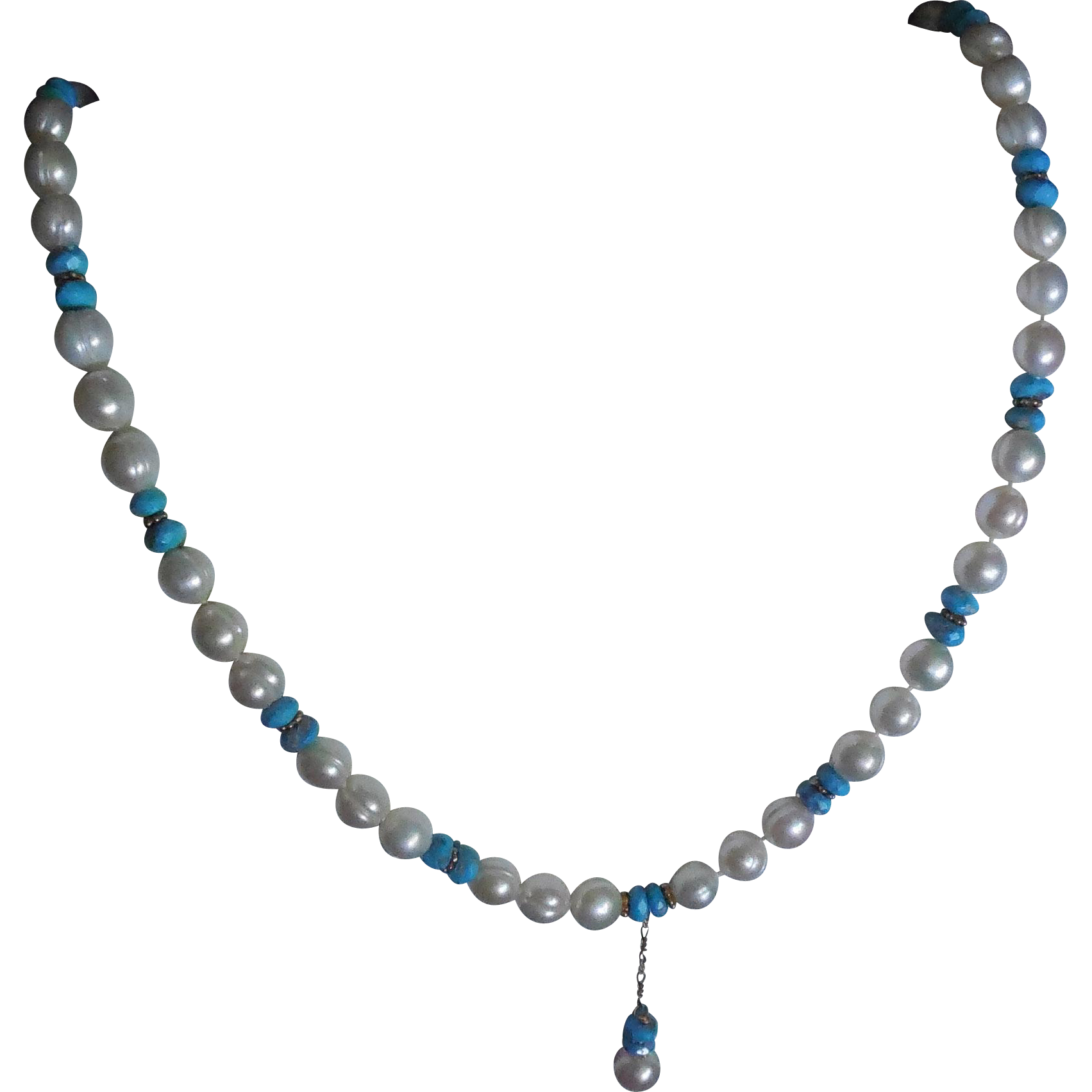 Ringed Pearl and Blue Stone or Glass Necklace With Drop