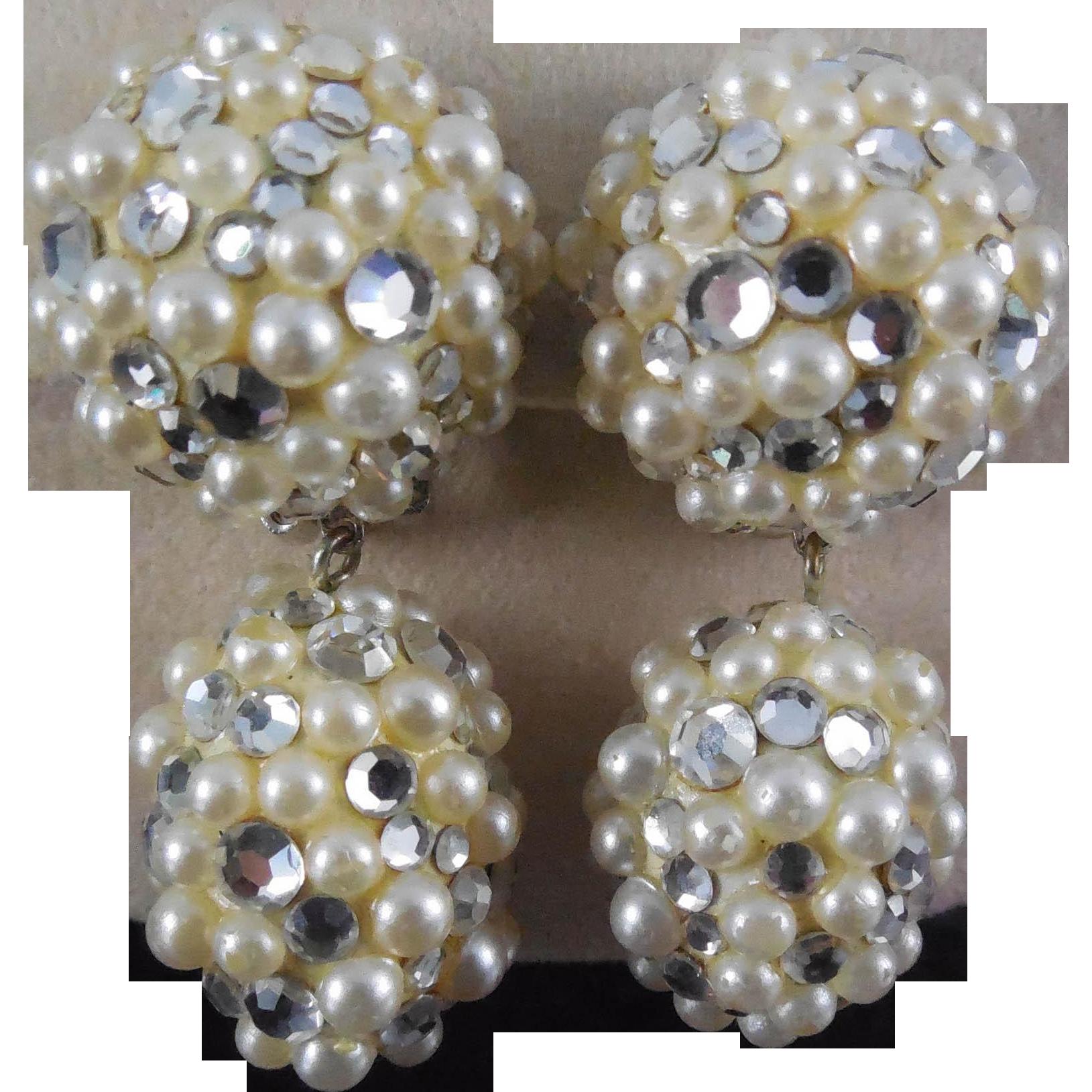 Vintage James Arpad Rhinestone Faux Pearl Disco Earrings - 1980s