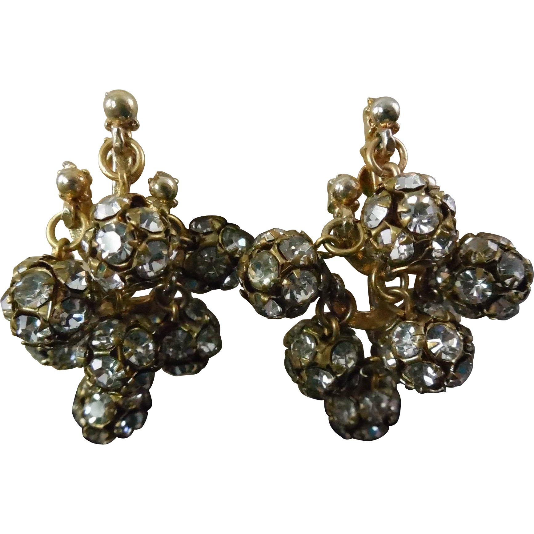 Rare Signed Barkow Dangling Rhinestone Cluster Earrings - Lillian Barkow