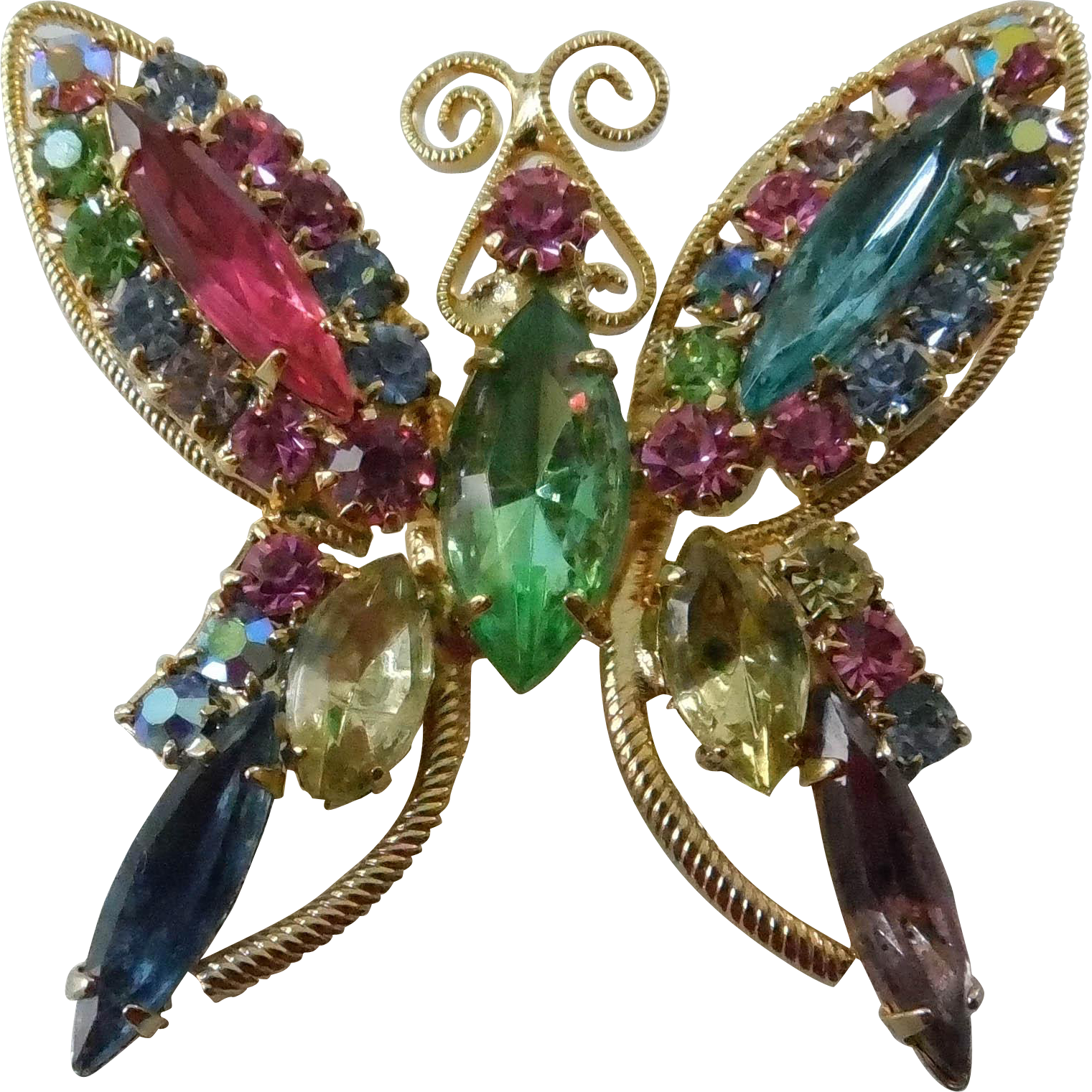 Vintage Multicolor Rhinestone Butterfly Brooch - Unsigned