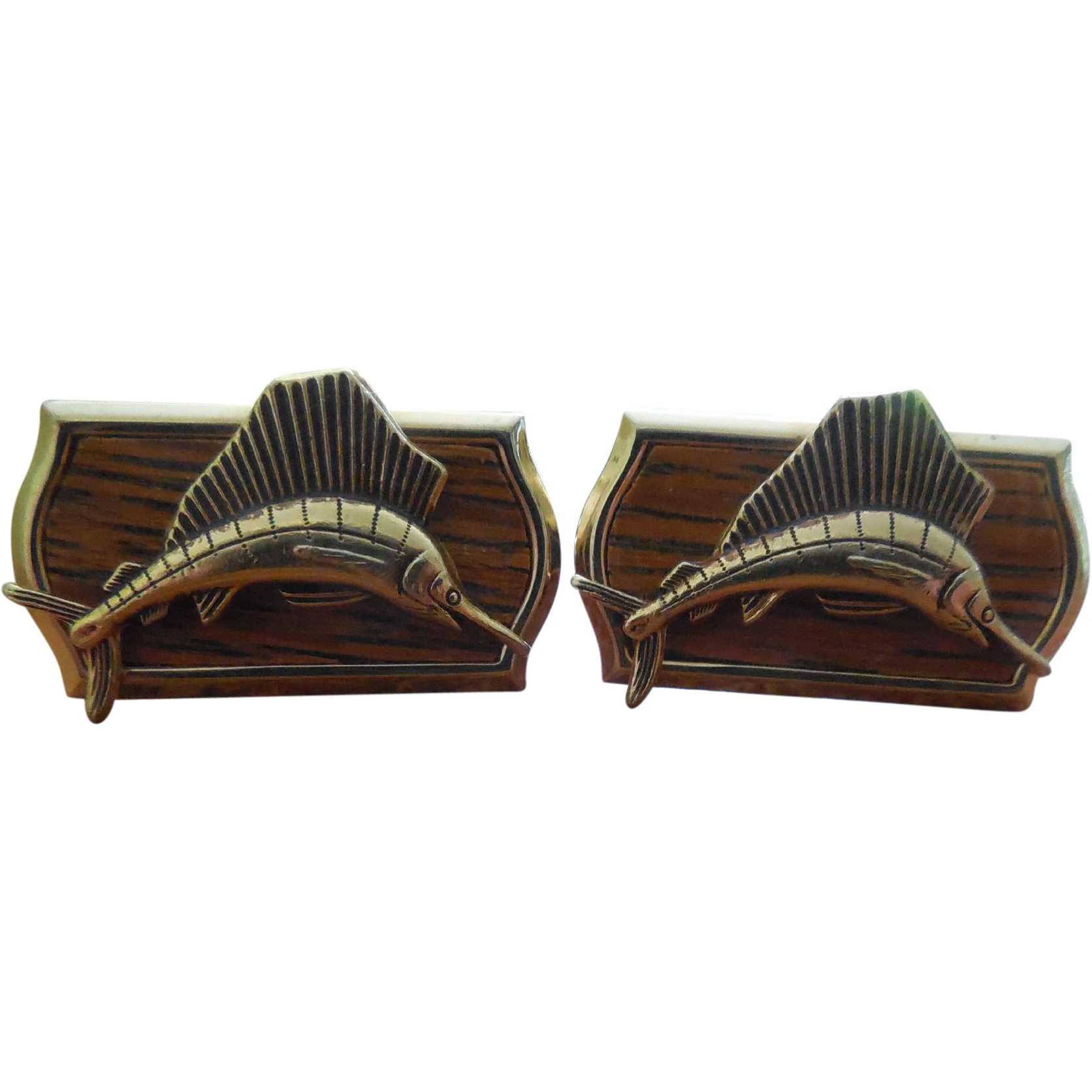 Vintage Signed Hickok Cufflinks With Sailfish Marlin Fronts Cuff Links