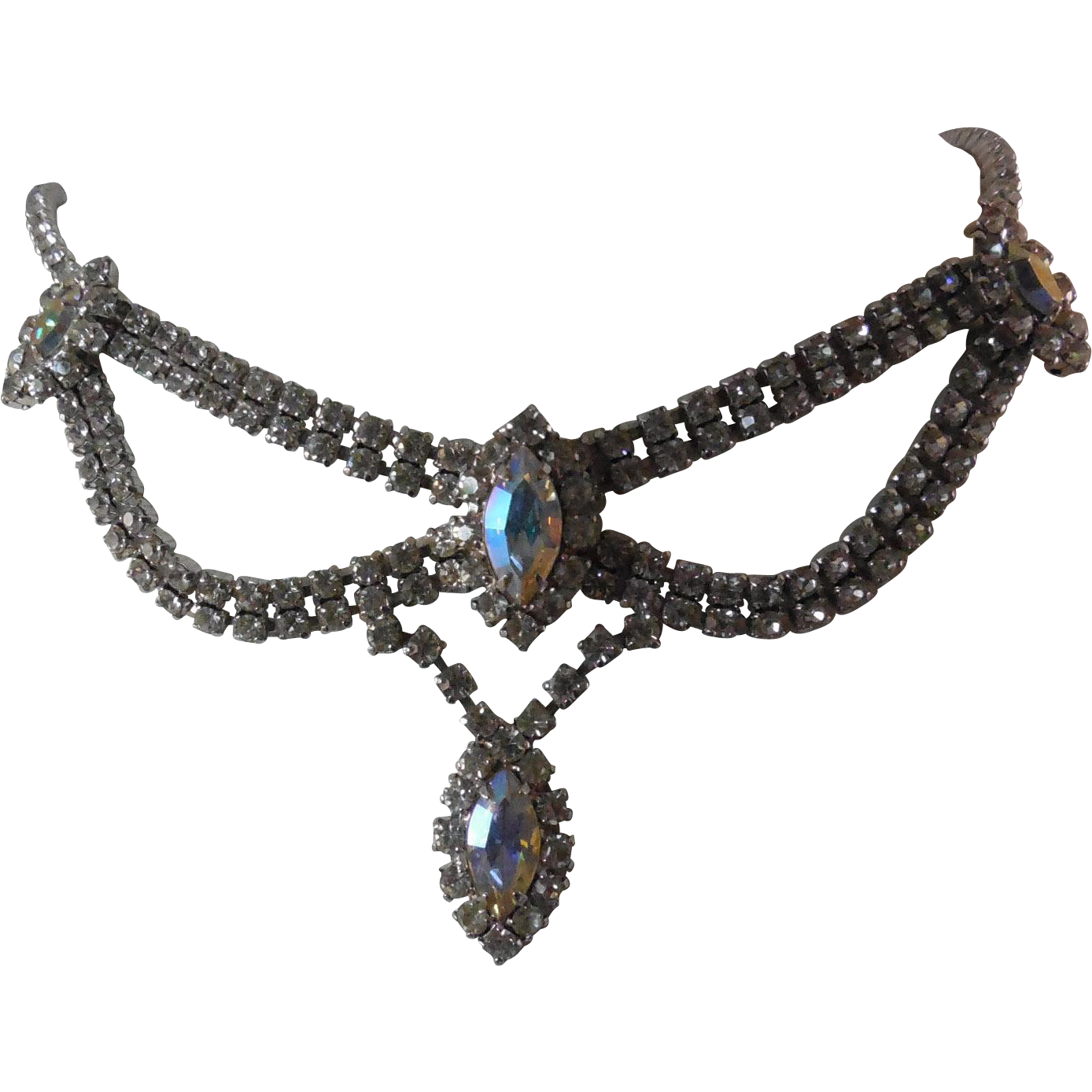 Fabulous Vintage Rhinestone Crystal Drop Necklace With AB Stones - With Length Extender