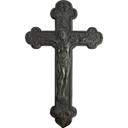 Fabulous Antique Victorian Spelter Crucifix With Angels Grapes and Vines - Circa Late 1800s