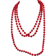 "Antique Bright Red Glass Bead Necklace -  Long  64"" -  Knotted Between Beads"