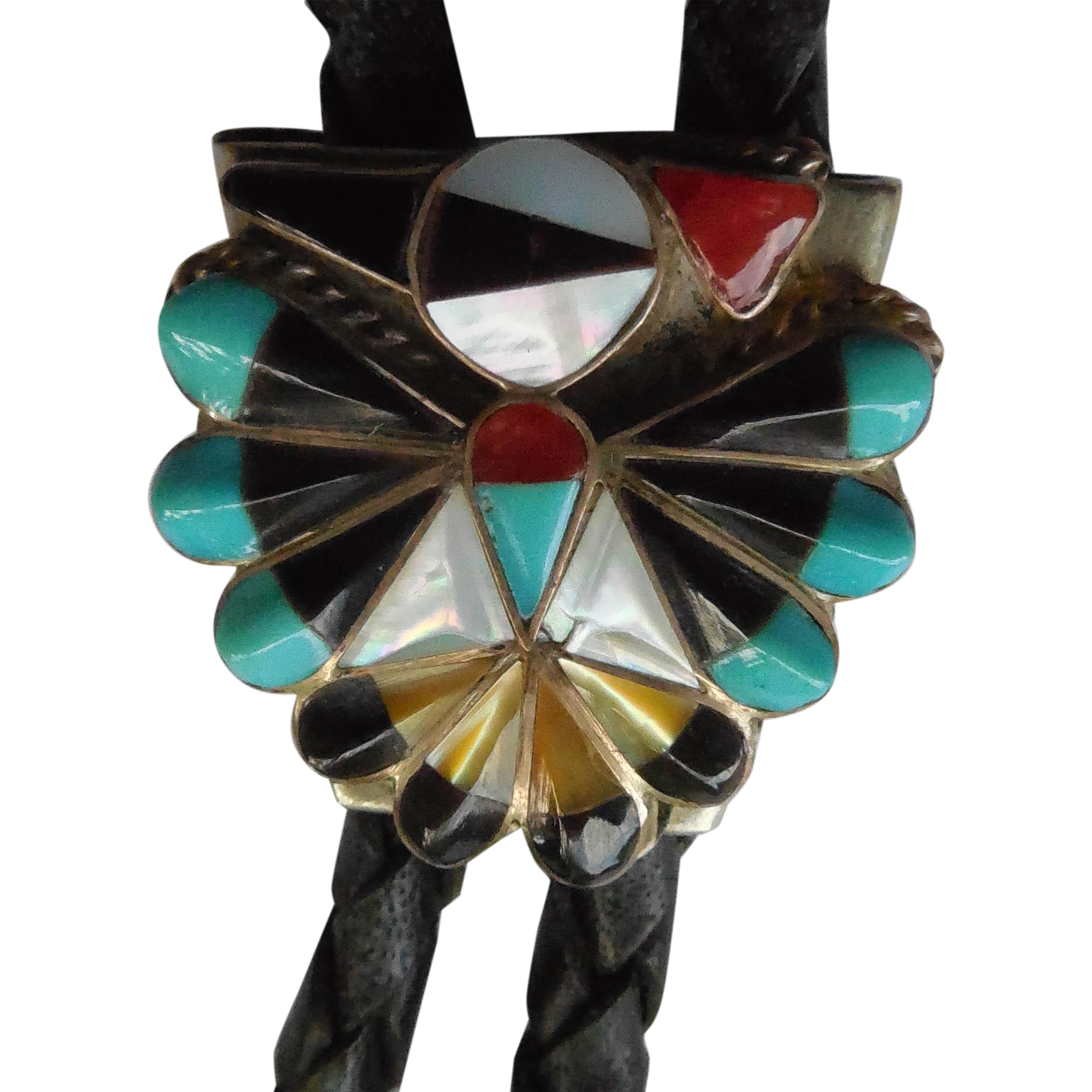Vintage Native American Zuni Peyote Bird Bolo Tie With Inlaid Stones and Shell