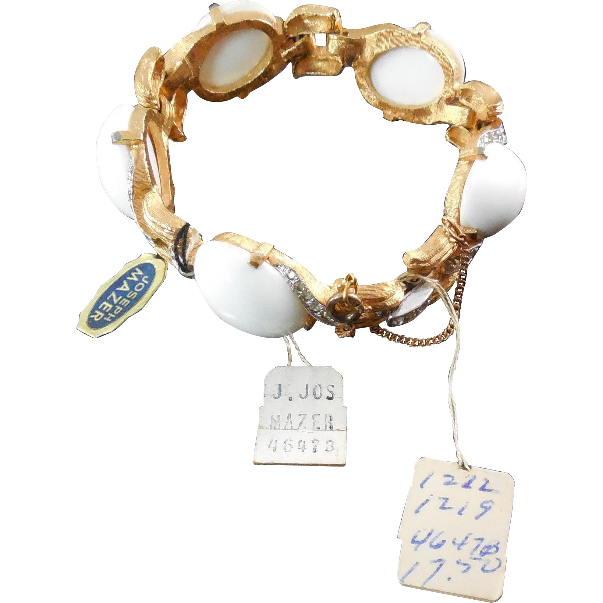 Rare Joseph Mazer Jewels Of the Elite Milk Glass Bracelet -  Unsigned but with Original Tags