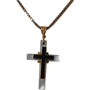 Gorgeous Antique Enamel & Mother of Pearl Cross Necklace