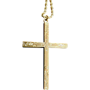 Large Antique Art Deco Etched Cross Necklace - 12K Gold Filled Chain