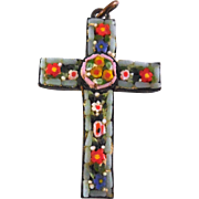 Micro Mosaic Cross - Quite Vintage & Made In Italy - Flower Pattern