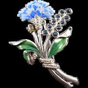 Vintage Pot Metal Rhinestone Enamel Flower Brooch - Blue & Green