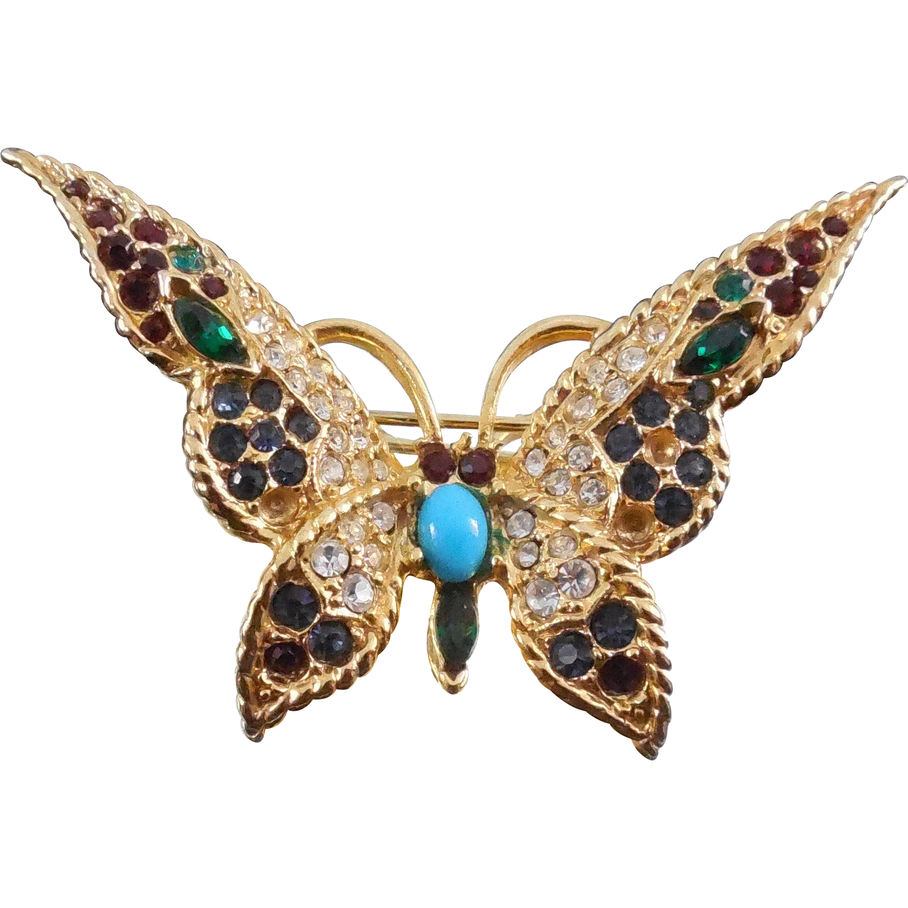 Unsigned Boucher Butterfly Or Moth Brooch #375 - Missing a few stones
