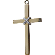 Lovely Signed Vintage Two Tone Gold Crucifix - Gold Filled Signed TK (Tru Kay)