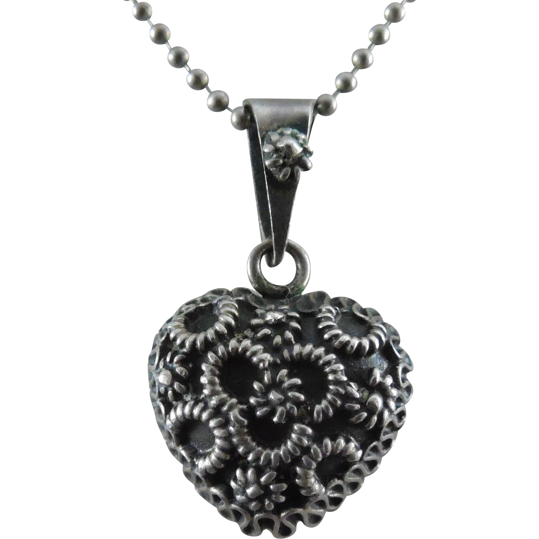 Unusual Heart Pendant - Intricate Design - Sterling Silver Chain