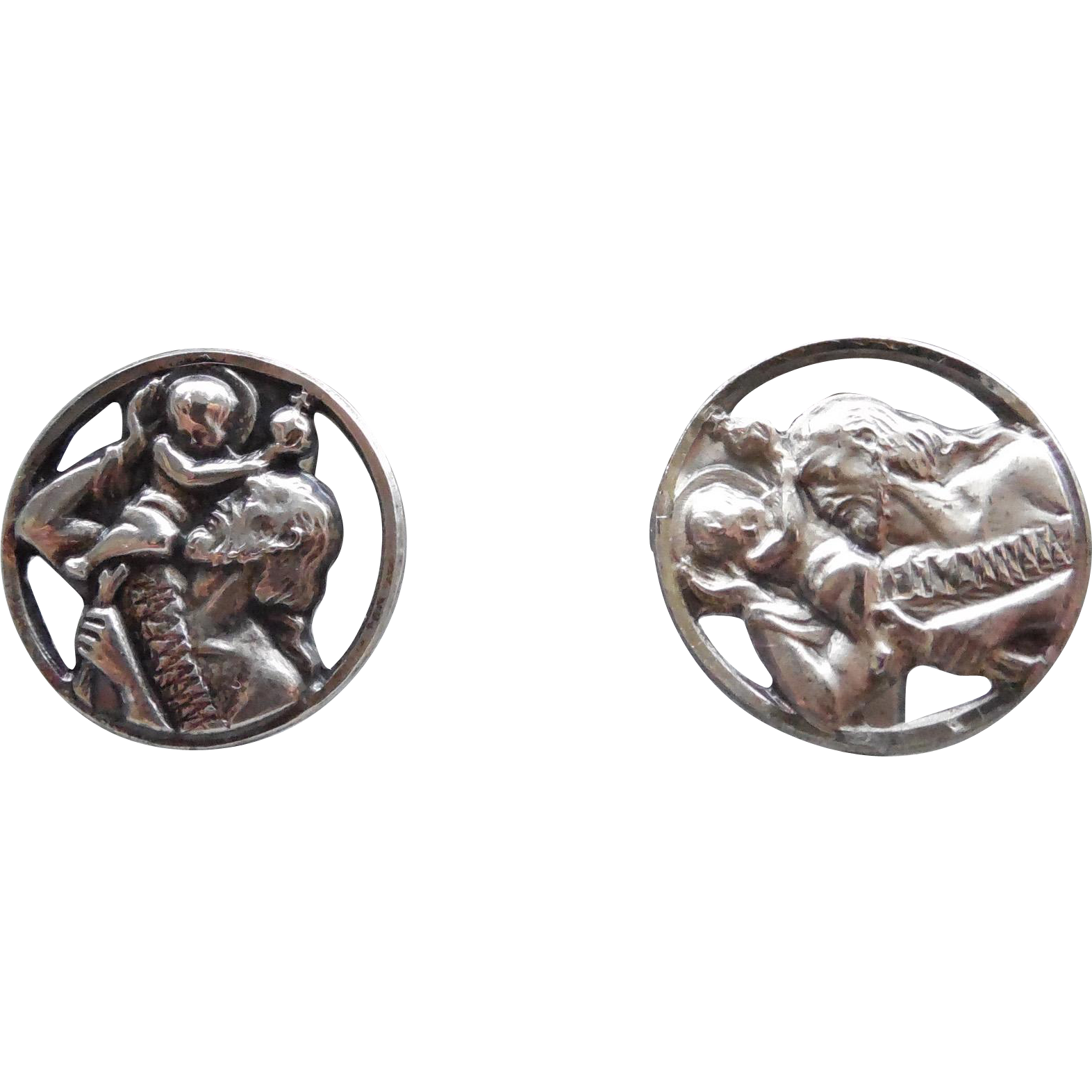 Sterling Silver Saint Christopher Cufflinks Cuff Links Catholic Religion
