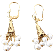 18K Gold Earrings With Pearl Dangles - Marked 750 With Italian Makers Mark