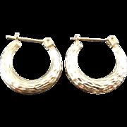 14K Gold Textured Hoop Earrings For Pierced Ears